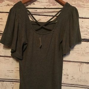 Olive green soft blouse with crisscross back